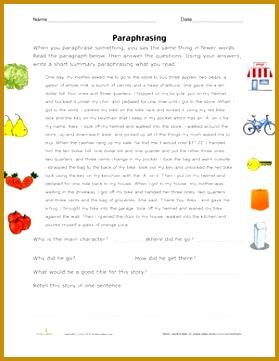 Fourth Grade position prehension Worksheets Paraphrasing Practice 361279