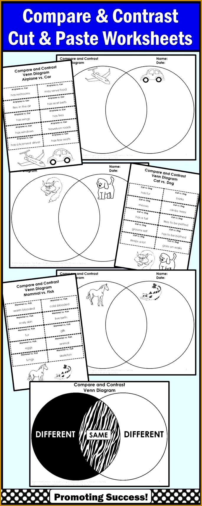 pare and Contrast Graphic Organizer Venn Diagram Writing Worksheets 1711684