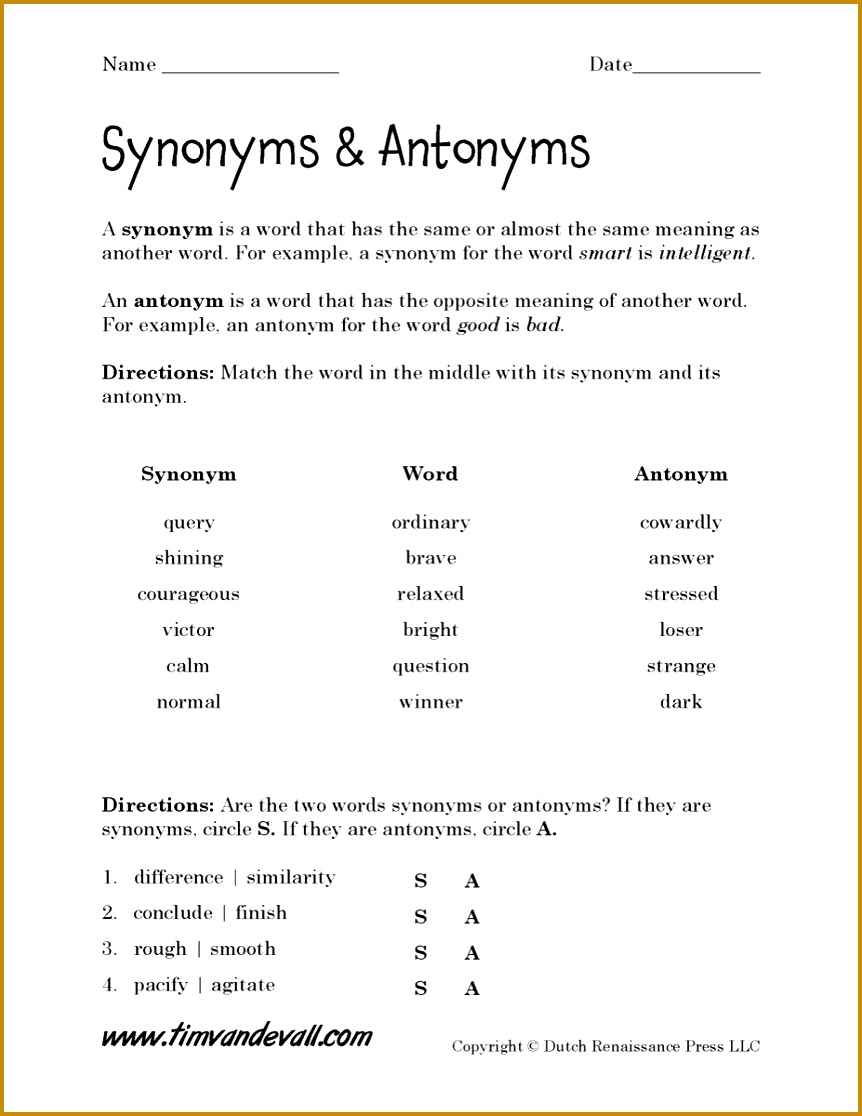 Language Arts Next Printable Synonyms Antonyms Worksheet 1116862