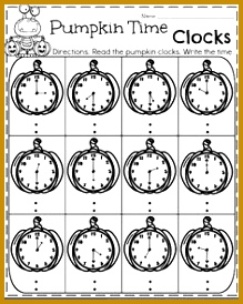 First Grade October Worksheets Pumpkin Clocks Telling Time 274219