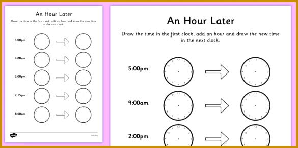 An Hour Later Worksheet 292585