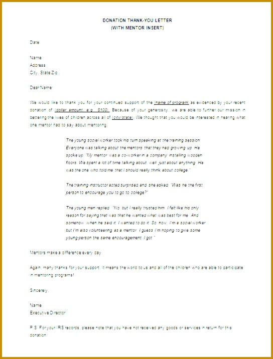 Donor Thank You Letters For Donation Download 716544