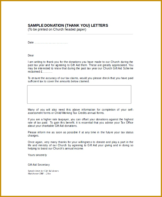 Sample Thank You Letter For Donation To Church 678558