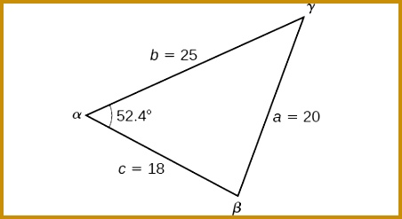 A triangle with standard labels Side b =25 side a = 20 452247