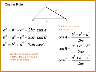 The cosine rule It is very simple because once you memorize one you memorize 290386