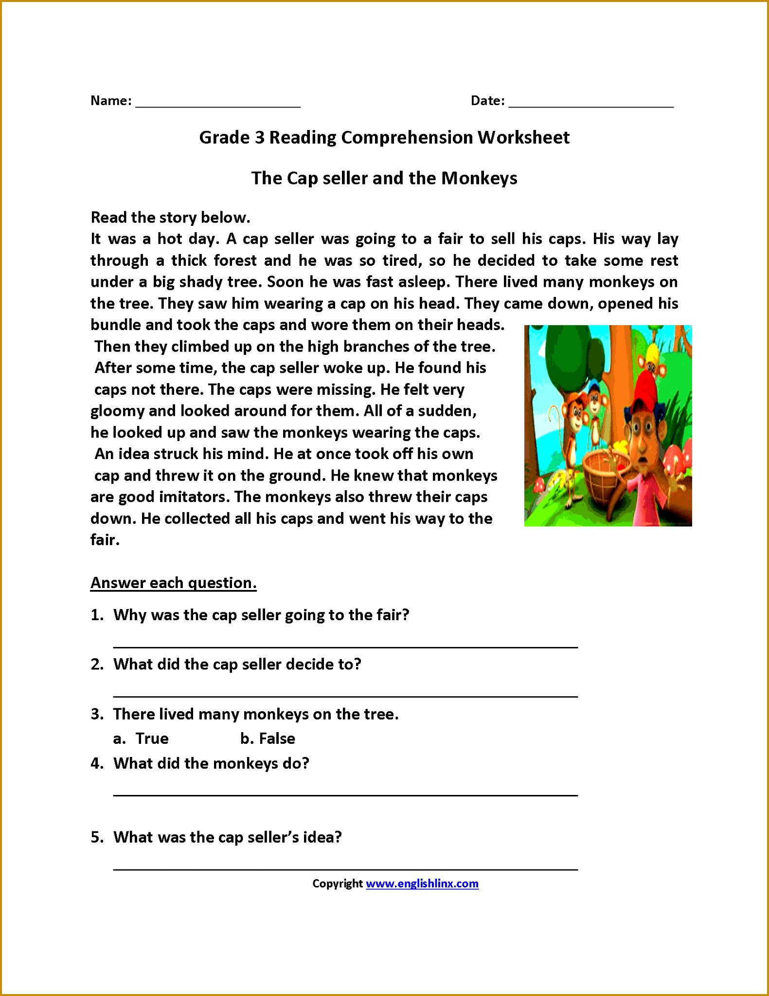 Cap Seller and Monkeys Third Grade Reading Worksheets 20461581
