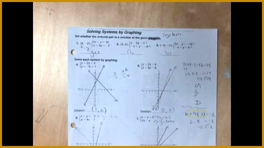 11 14 and Answers to Solving Systems of Equations by Graphing Worksheet 292520