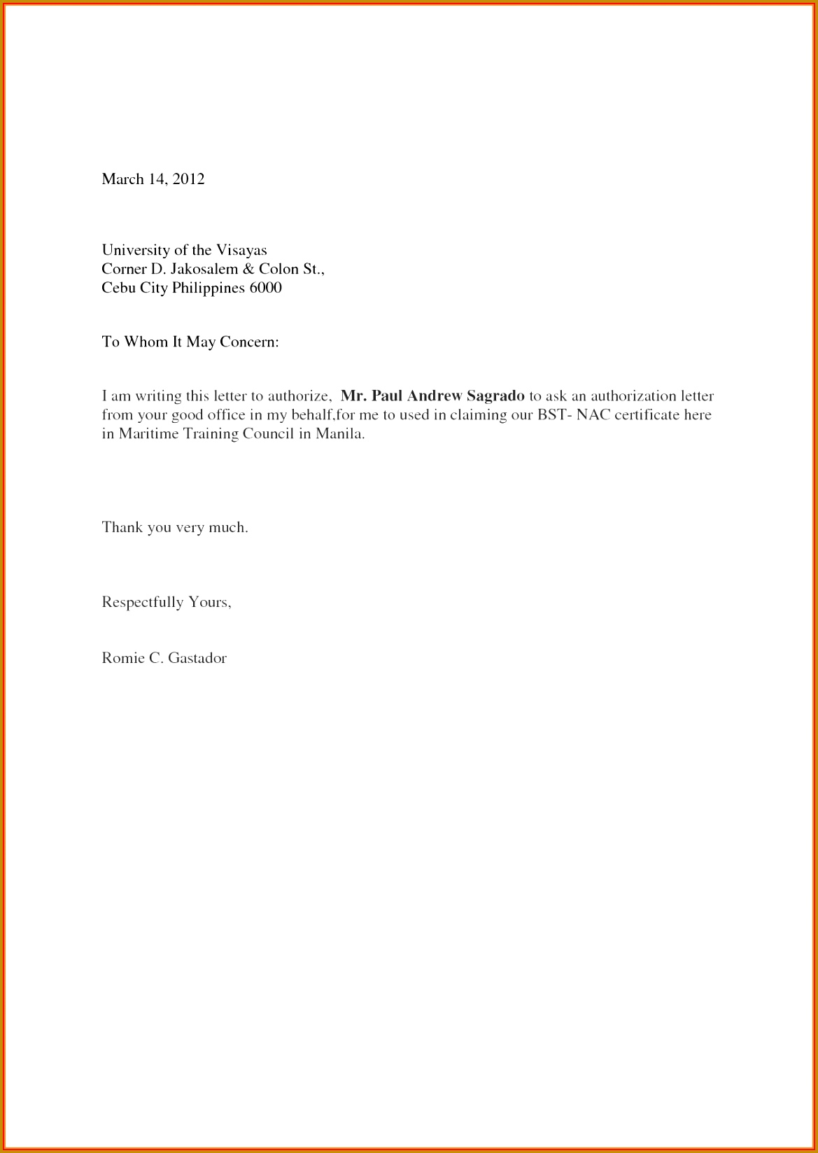 Sample Authorization Letter Birth Certificate Choice Image Authorization Letter Sample For Claiming Luxury 7 Sample Authorization 16471169