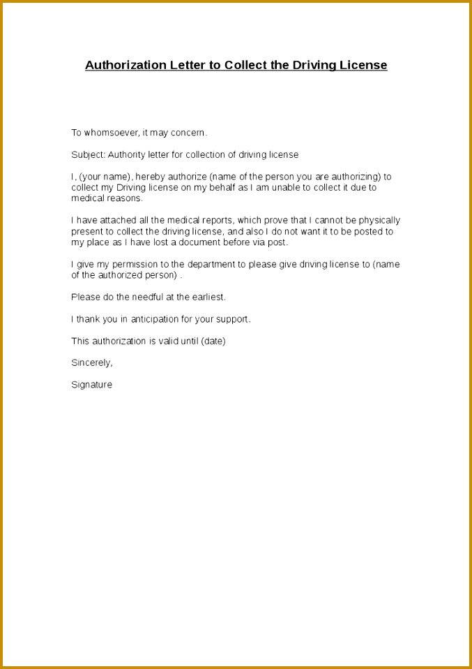 Authorization Letter to Collect the Driving License 958677