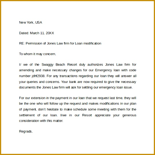 Table Format of Bank Authorization Letter Template 544544