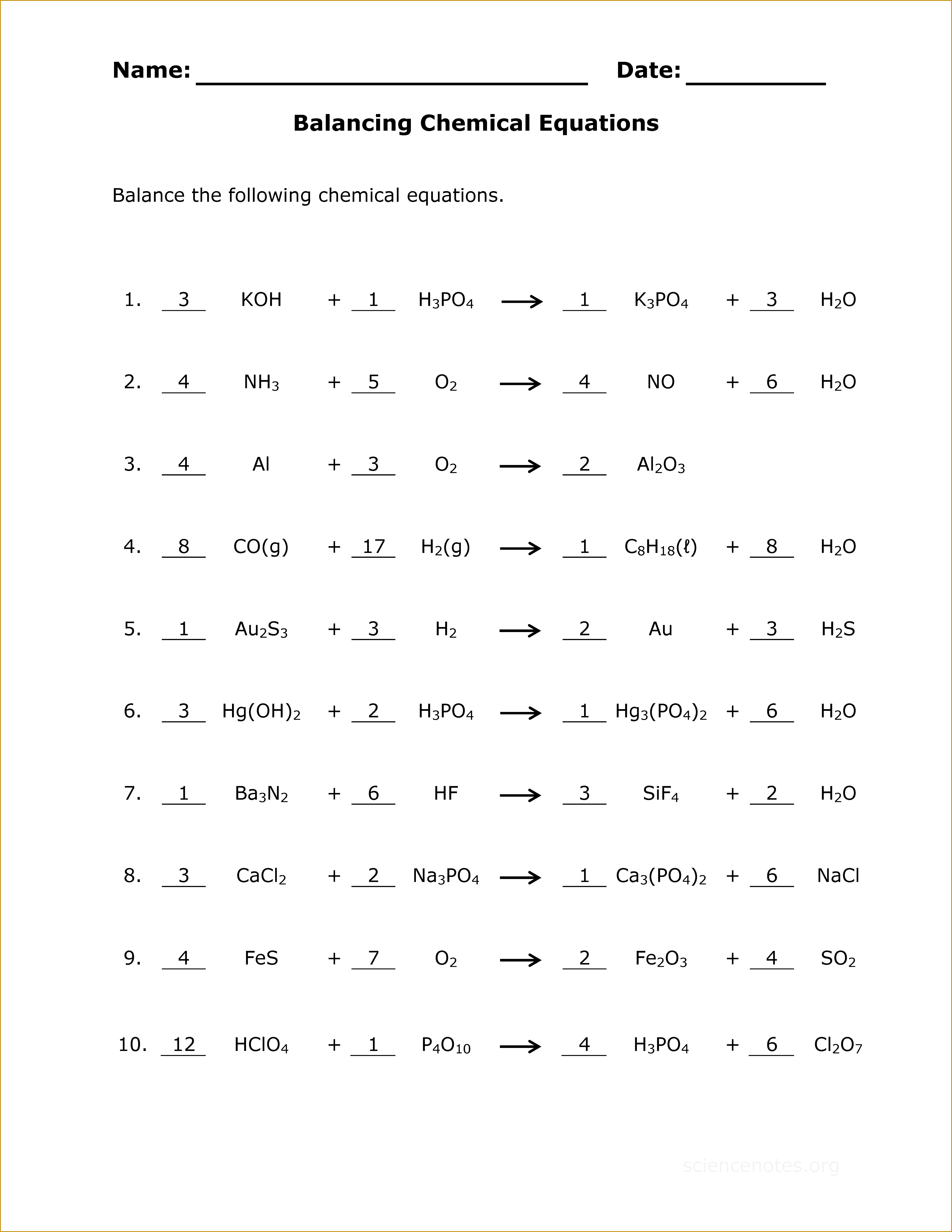 7 Types Of Chemical Reactions Worksheet Answers | FabTemplatez