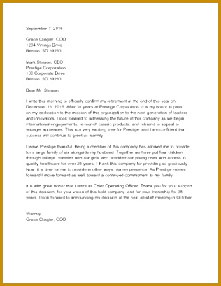 Sample Resignation Letter for Retirement 316409