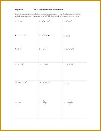 4 Unit 7 Exponent Rules Worksheet 2 Answers   FabTemplatez