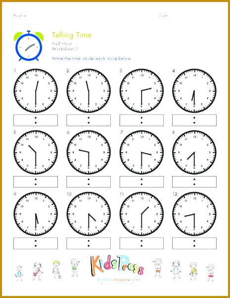 Telling Time Half Hour Worksheet 3 601465