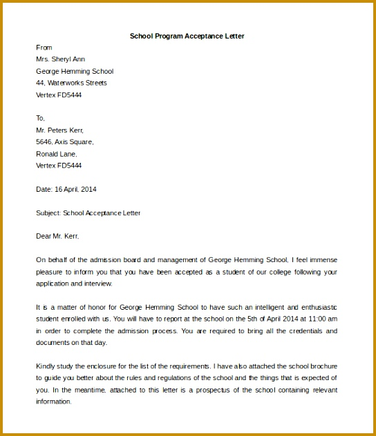 School Program Acceptance Letter Template Example Download 632544