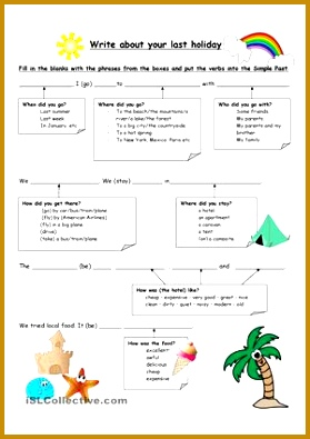 This is a worksheet to help your students to write about their last holiday All the vocabulary they need is in the worksheet 395279