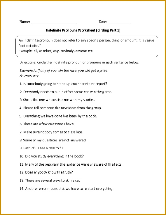 Indefinite Pronouns Worksheet Circling Part 1 Intermediate 736569