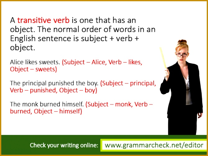 English Grammar Can you perfect this quiz on transitive verbs s 669502