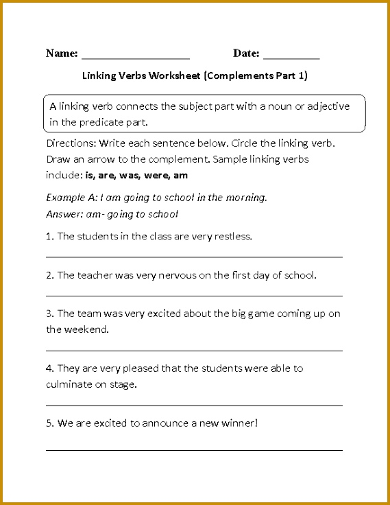 Linking verbs do not show action but instead they rename or describe a subject These linking verbs worksheets are for students at the beginner 736569