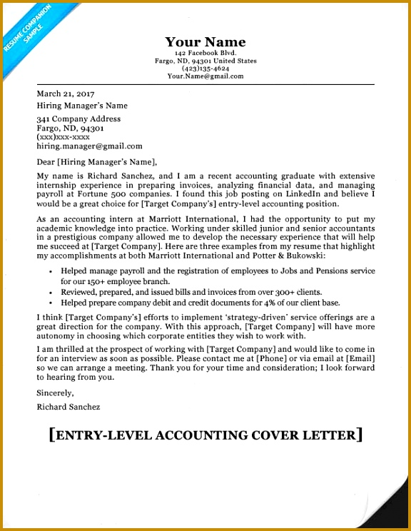 Entry Level Accounting Cover Letter 744576