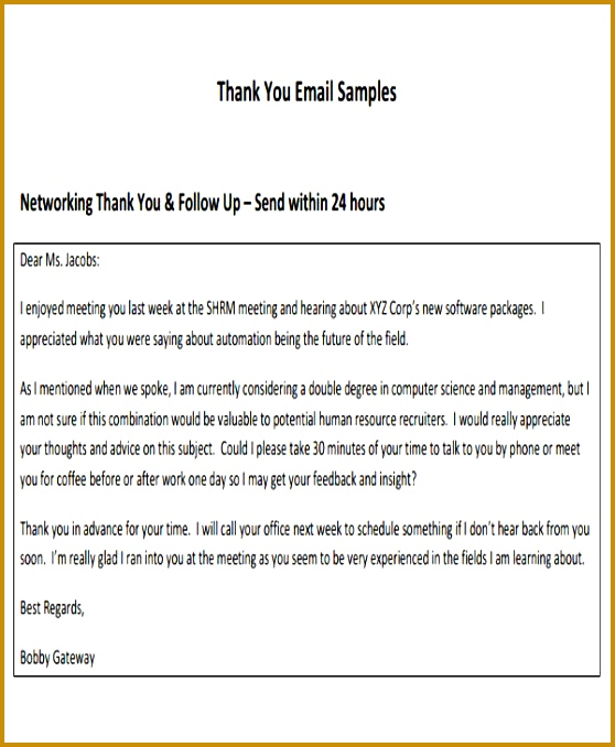 Formal Thank You E mail Template 678558