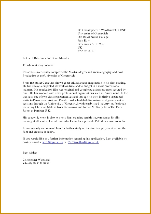 Greenwich Reference Letter Dr Christopher C Woollard PhD BSC University of Greenwich Old Royal Naval College 839593
