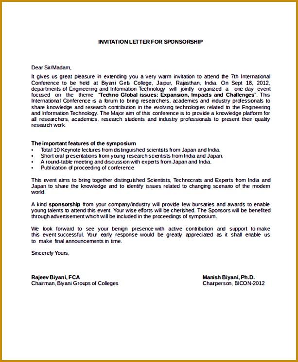 Free College Sponsorship Letter 746613