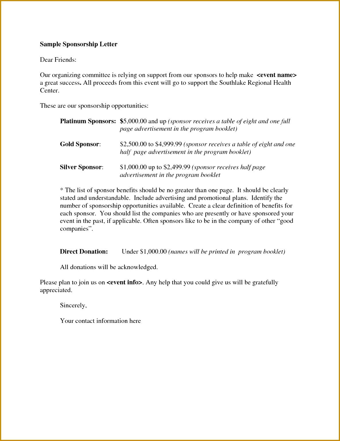 Sponsorship Letter Proposal 40 Sponsorship Letter Sponsorship 15341185