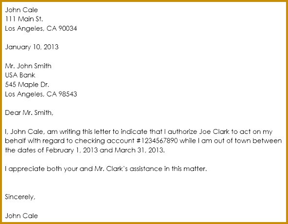Authorization Letter Format for Bank Account Operation 460592