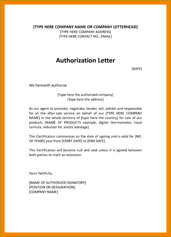 how to write authorisation letter 7 770554