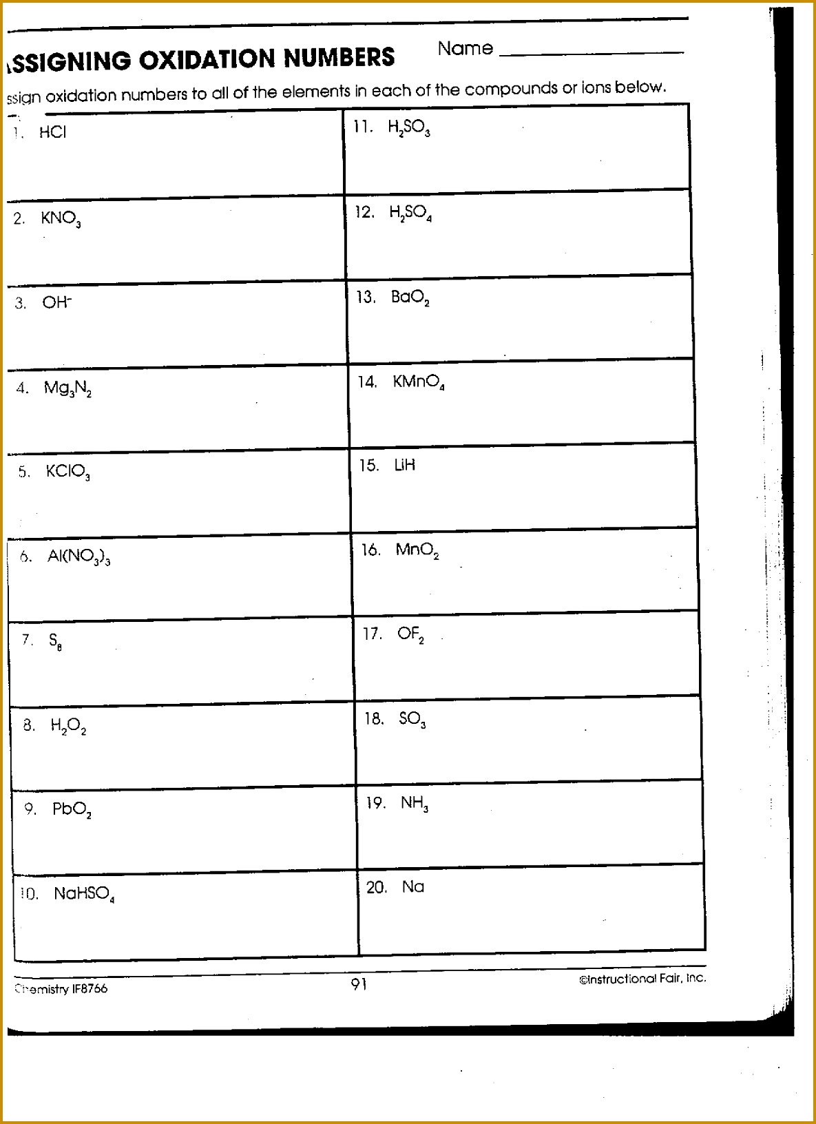 3 Worksheet Oxidation Numbers Answers | FabTemplatez