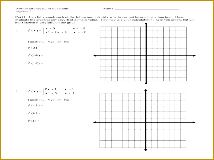 Worksheet Piecewise Functions 44351 Writing Piecewise Function