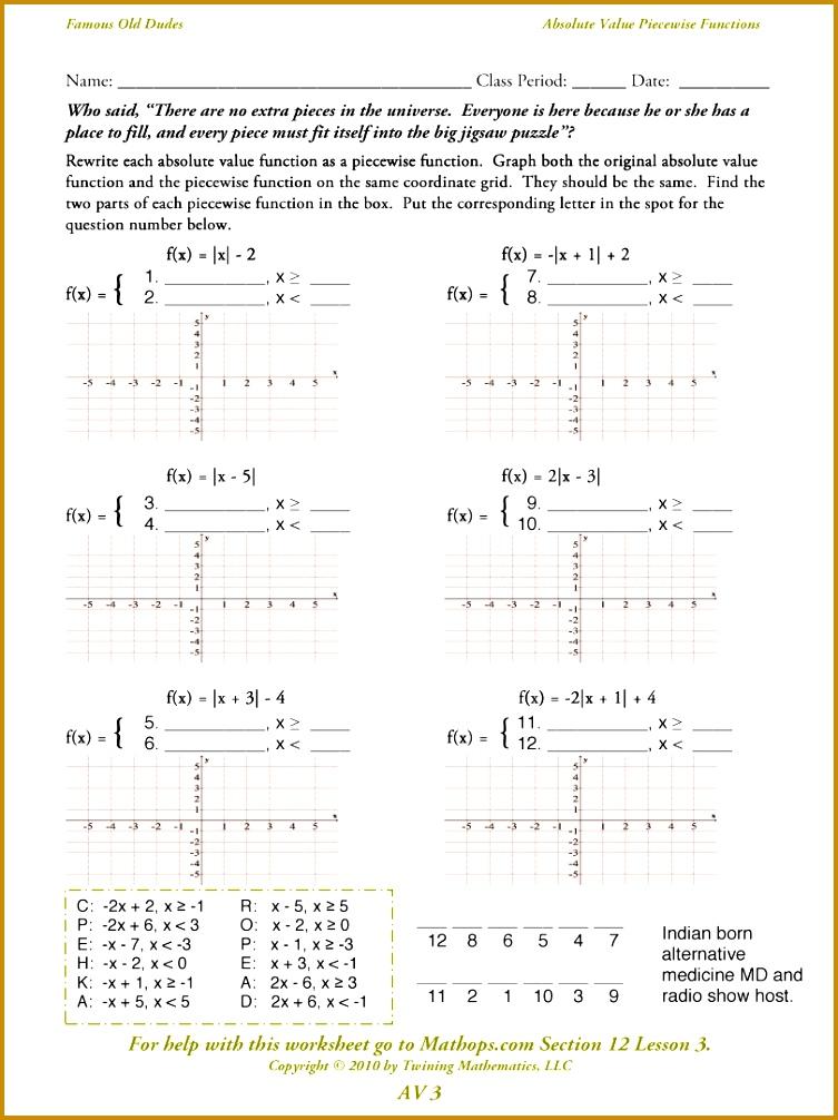 6 Worksheet Piecewise Functions Fabtemplatez. Worksheet Piecewise Functions 75018 Absolute Value Worksheets With Answers For All. Worksheet. Worksheet Piecewise Functions Afm At Mspartners.co