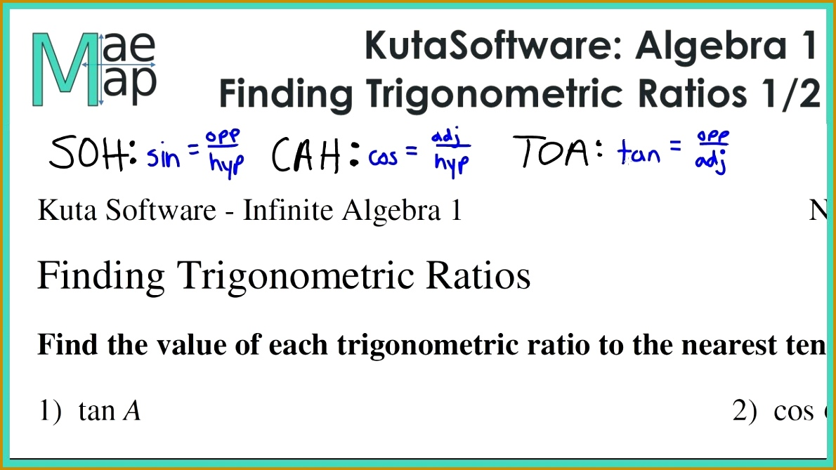 KutaSoftware Algebra 1 Finding Trigonometric Ratios Part 1 6691190