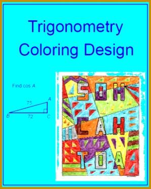 Trigonometry Coloring Activity Find Trig Ratios Sin Cos Tan Easy Version and Harder Version 372298
