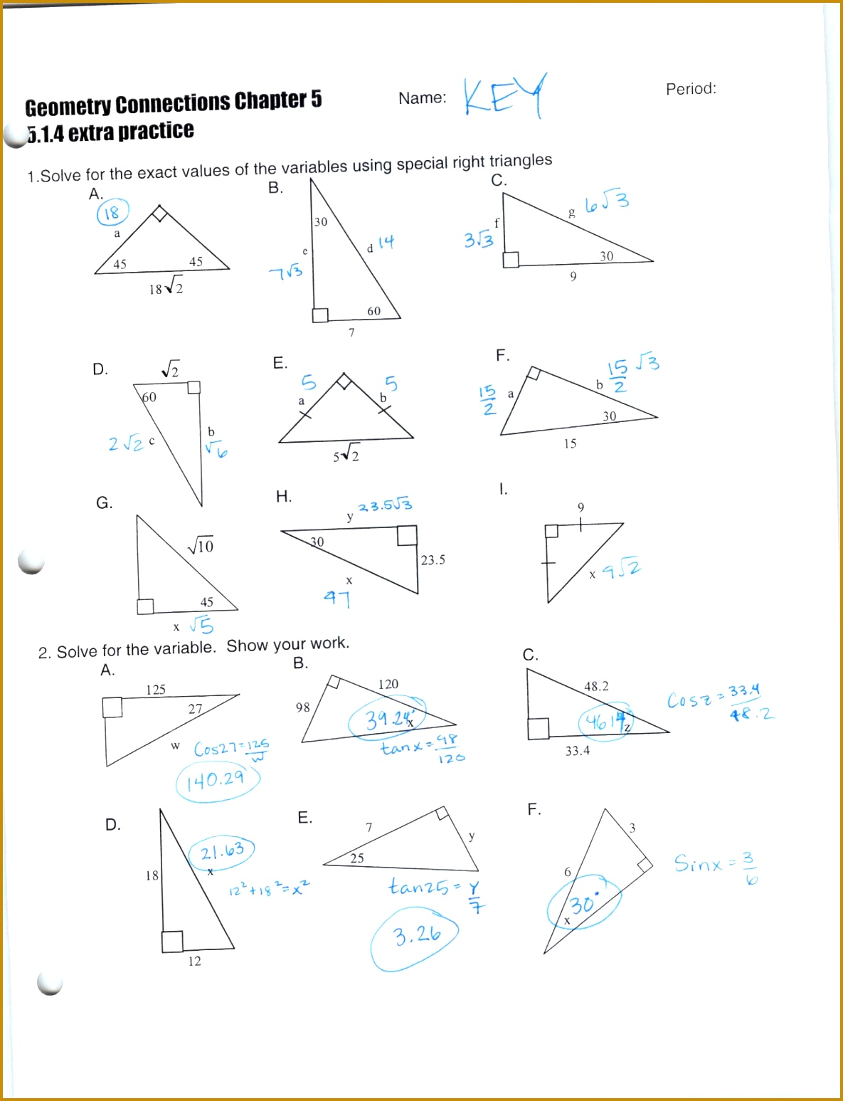 Right Triangle Trigonometry Worksheet With Answers Davezan Solving Triangles Abitlikethis 4 prong relay oscillator 15471185