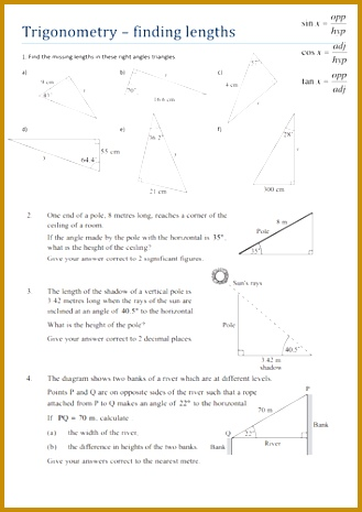Trigonometry finding lengths worksheet by Tristanjones Teaching Resources Tes 465329