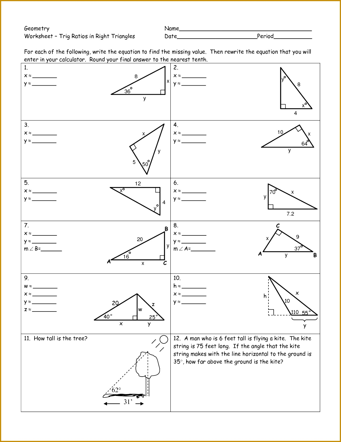 Worksheet Trigonometric Ratios Answers - Adriaticatoursrl