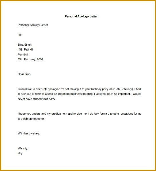 Excellent Apology Letter to Employer for Leaving Job In Personal Letter Template 40 Free Sample Example format 544595