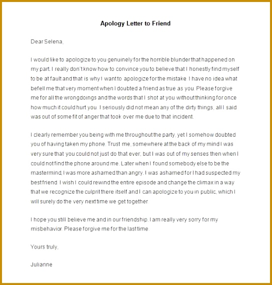 Sample Apology Letter to Friend 571544