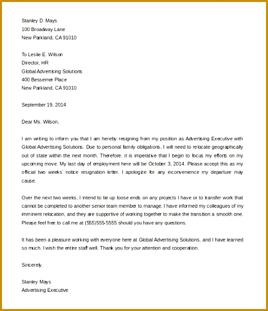 Simple Resignation Letter Luxury Two Week Resignation Letter Example Dolapgnetband 632544