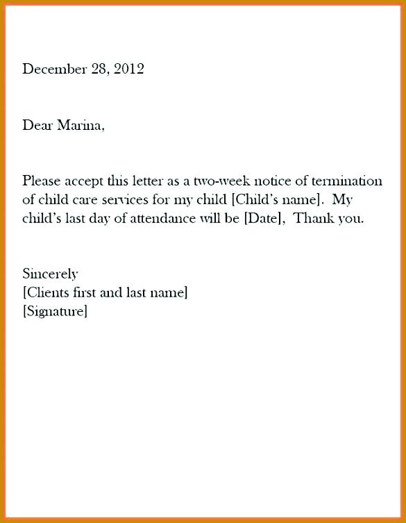 Resignation Letter Week Notice Samples 585753