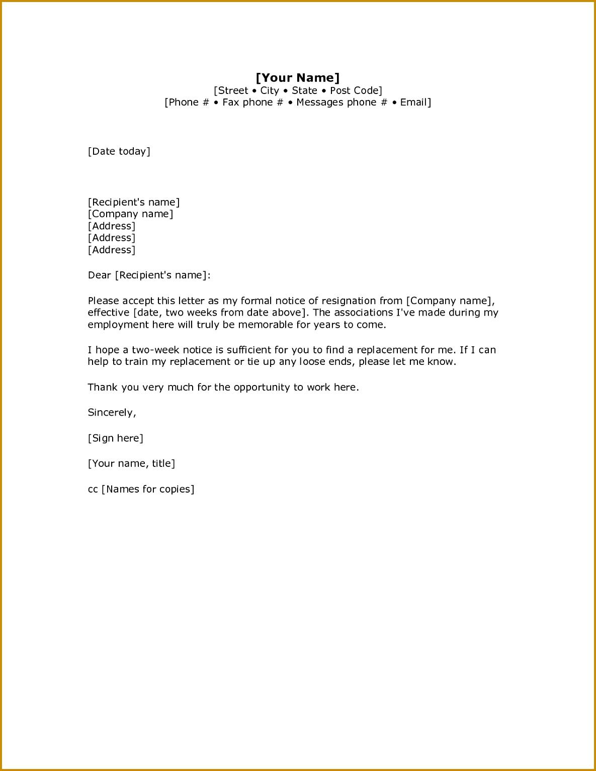 2 Weeks Notice Letter Resignation Letter Week Notice Words HDWriting A Letter Resignation Email Letter Sample 15341185