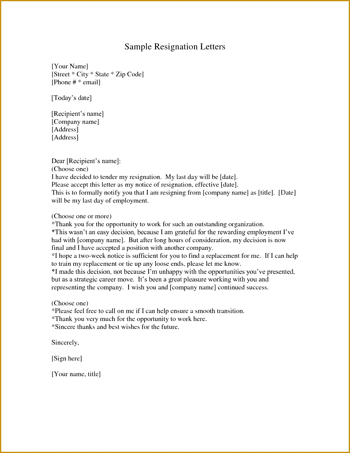 Two Week Resignation Letter Templates New Letter Resignation 2 Weeks Notice Template 15341185