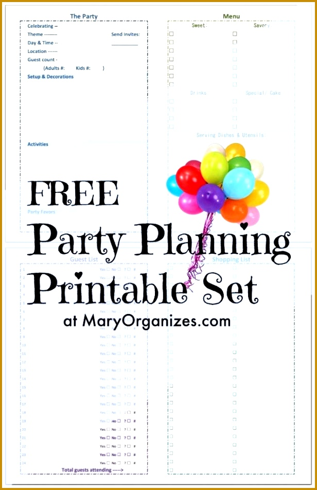 FREE Party Planning Printable FreePrintable Printables planning printable set 952616