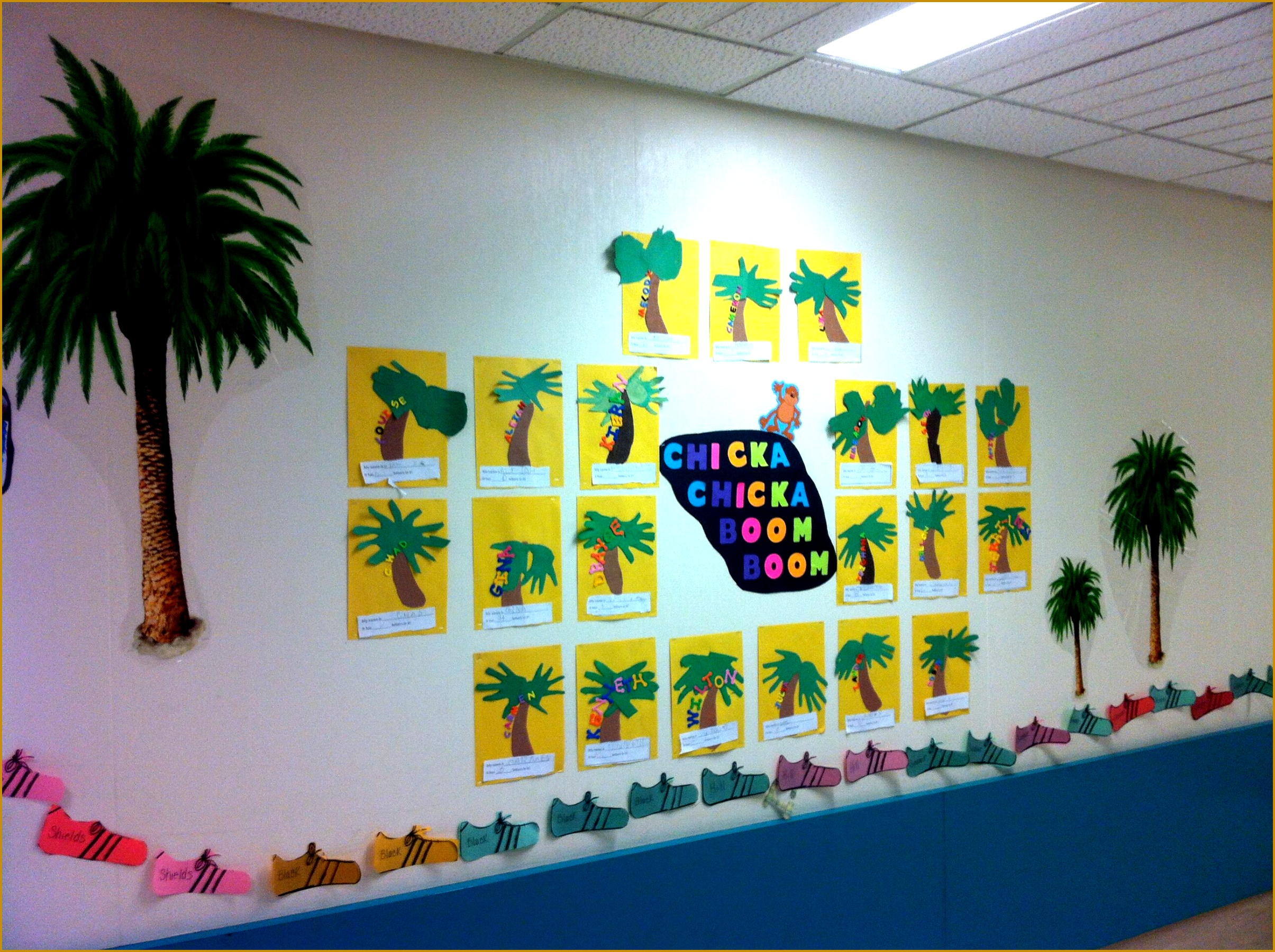 ELA Chicka Chicka Boom Boom Bulletin Board Kids did names on coconut tree in foam 18002410