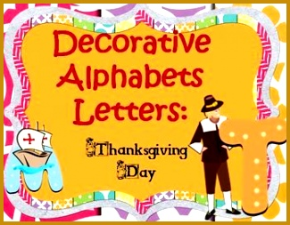 Decorative Alphabet Letters Thanksgiving Day is a high resolution colorful fully scalable 325253