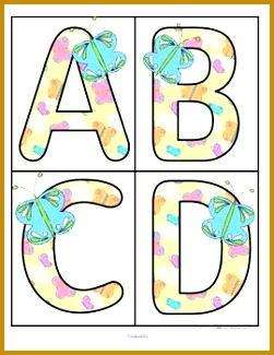 This is a set of large upper case alphabet letters with a Spring or Butterfly theme 4 letters to a page Print on cardstock 325251