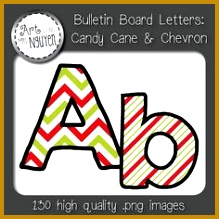 Bulletin Board Letters Candy Cane and Chevron Classroom Decor 219219