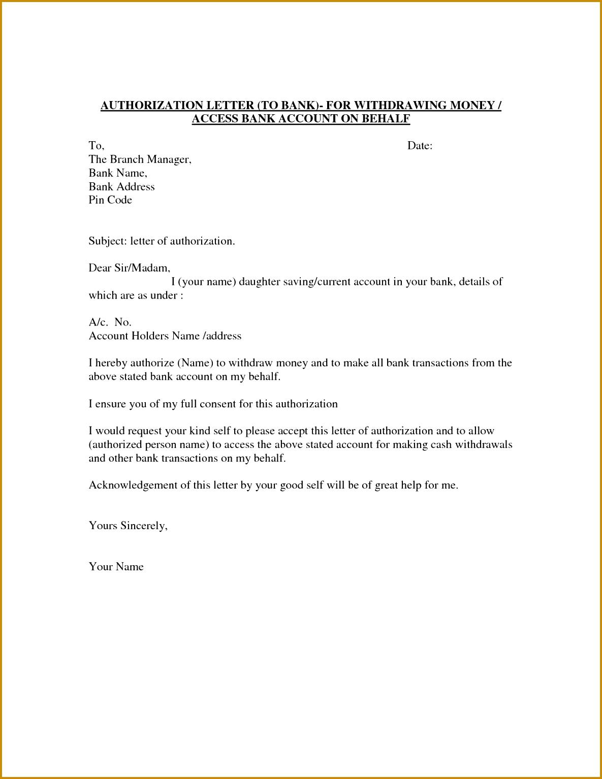 Authorization Letter Template Best Car Galleryformal Letter Authorization Letter Sample Bank Transaction 15341185